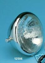 "Harley Chrome Headlight 12vt. 5-3/4"" Side Mnt."