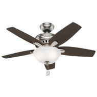 "Hunter 42"" Newsome Brushed Nickel Ceiling Fan with Light"