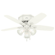 "Hunter 42"" Builder Low Profile Snow White Ceiling Fan with Light"