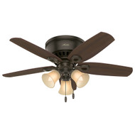 "Hunter 42"" Builder Low Profile New Bronze Ceiling Fan with Light"