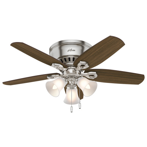 "Hunter 42"" Builder Low Profile Brushed Nickel Ceiling Fan with Light"