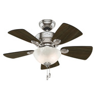 "Hunter 34"" Watson Brushed Nickel Ceiling Fan with Light"