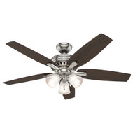 "Hunter 52"" Newsome Brushed Nickel Ceiling Fan with Light"