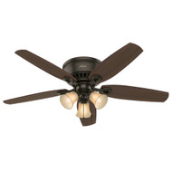 "Hunter 52"" Builder Low Profile New Bronze Ceiling Fan with Light"