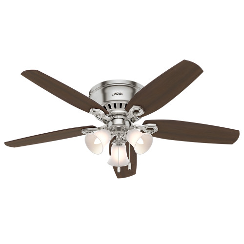"Hunter 52"" Builder Low Profile Brushed Nickel Ceiling Fan with Light"