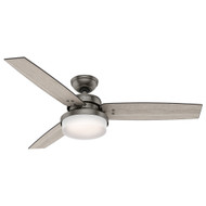 "Hunter 52"" Sentinel Brushed Slate Ceiling Fan with Light and Remote"