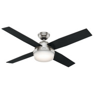 "Hunter 52"" Dempsey Brushed Nickel Ceiling Fan with Light and Remote"