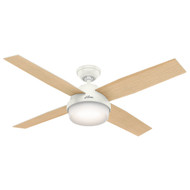 "Hunter 52"" Dempsey Fresh White Ceiling Fan with Light and Remote"