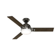 "Hunter 48"" Leoni Noble Bronze and Brushed Nickel Ceiling Fan with Light and Remote"