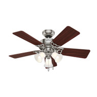 "Hunter 42"" Southern Breeze Brushed Nickel Ceiling Fan with Light 51011"