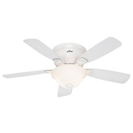 "Hunter 48"" Low Profile ENERGY STAR White Ceiling Fan with Light 52062"