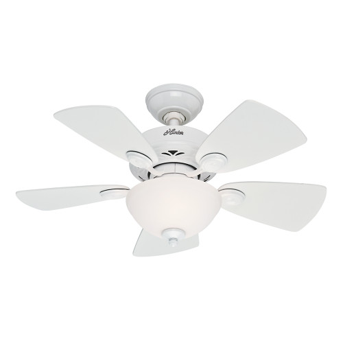"Hunter 34"" Watson Snow White Ceiling Fan with Light 52089"