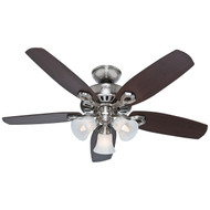 "Hunter 42"" Builder Small Room Brushed Nickel Ceiling Fan with Light 52106"