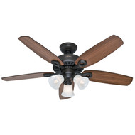 "Hunter 42"" Builder Small Room New Bronze Ceiling Fan with Light 52107"