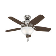 "Hunter 42"" Builder Small Room Brushed Nickel Ceiling Fan with Light 52219"