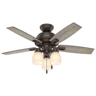 "Hunter 44"" Donegan Onyx Bengal Ceiling Fan with Light 52228"