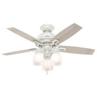 "Hunter 44"" Donegan Fresh White Ceiling Fan with Light 52229"