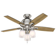 "Hunter 44"" Donegan Brushed Nickel Ceiling Fan with Light 52230"