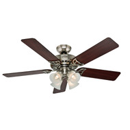 "Hunter 52"" Studio Series Brushed Nickel Ceiling Fan with Light 53064"