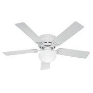"Hunter 52"" Low Profile III Plus White Ceiling Fan with Light 53075"