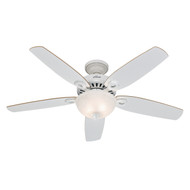 "Hunter 52"" Builder Deluxe White Ceiling Fan with Light 53089"