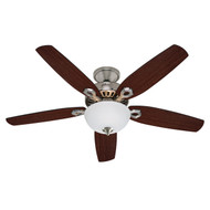 "Hunter 52"" Builder Deluxe Brushed Nickel Ceiling Fan with Light 53090"