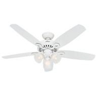 "Hunter 52"" Builder Plus Snow White Ceiling Fan with Light 53236"