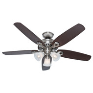 "Hunter 52"" Builder Plus Brushed Nickel Ceiling Fan with Light 53237"