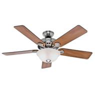 """Hunter 52"""" Pro's Best Five Minute Fan Brushed Nickel Ceiling Fan with Light 53249"""
