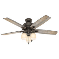 "Hunter 52"" Donegan Onyx Bengal Ceiling Fan with Light 53336"