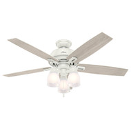 "Hunter 52"" Donegan Fresh White Ceiling Fan with Light 53337"