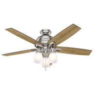 """Hunter 52"""" Donegan Brushed Nickel Ceiling Fan with Light 53338"""