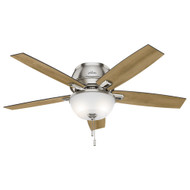 "Hunter 52"" Donegan Brushed Nickel Ceiling Fan with Light 53344"