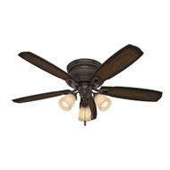 "Hunter 52"" Ambrose Onyx Bengal Ceiling Fan with Light 53356"