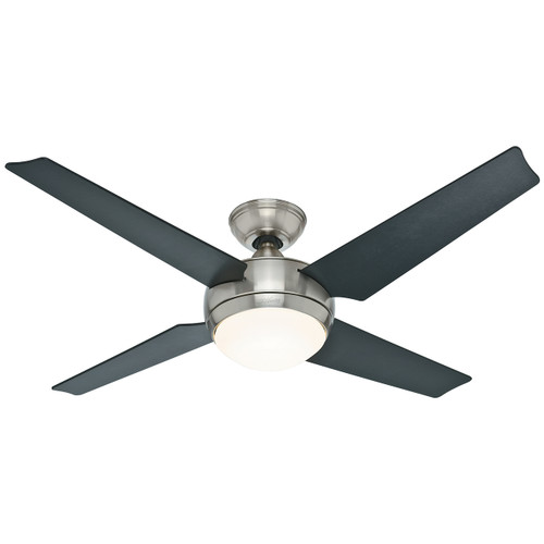 "Hunter 52"" Sonic Brushed Nickel Ceiling Fan with Light and Remote 59072"