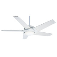 "Casablanca 54"" Stealth DC Snow White Ceiling Fan with Light and Remote"