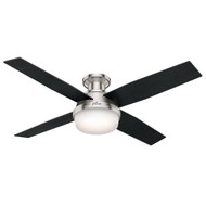 "Hunter 52"" Dempsey Brushed Nickel Ceiling Fan with Light and Remote 59241"