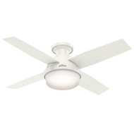 "Hunter 44"" Dempsey Fresh White Ceiling Fan with Light and Remote 59244"