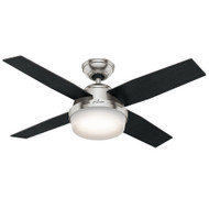 "Hunter 44"" Dempsey Brushed Nickel Ceiling Fan with Light and Remote 59245"