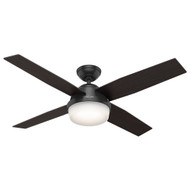 "Hunter 52"" Dempsey Matte Black Ceiling Fan with Light and Remote 59251"