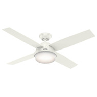 "Hunter 52"" Dempsey Fresh White Ceiling Fan with Light and Remote 59252"