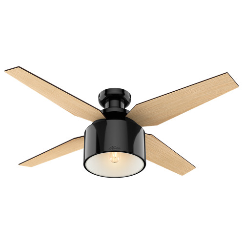 """Hunter 52"""" Crawford Gloss Black Ceiling Fan with Light and Remote 59259"""