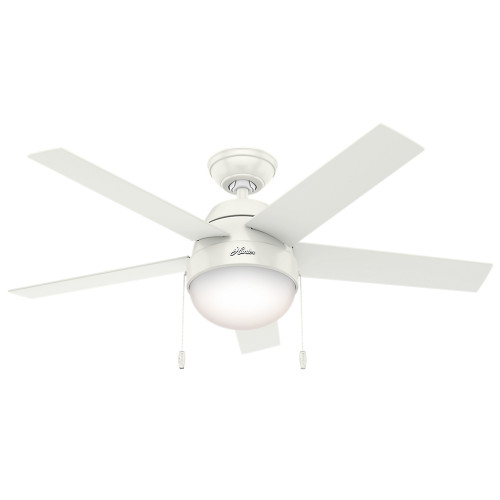 """Hunter 46"""" Anslee Fresh White Ceiling Fan with Light 59266"""
