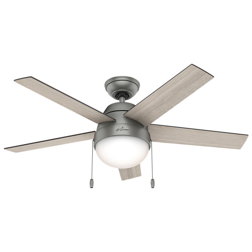 "Hunter 46"" Anslee Matte Silver Ceiling Fan with Light 59267"
