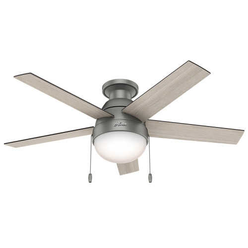 "Hunter 46"" Anslee Matte Silver Ceiling Fan with Light 59270"