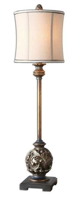 Uttermost Shahla Bronze Buffet Lamp.  Aged Golden Bronze Finish With Antiqued Silver Champagne Details And A Gray Wash.