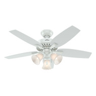 Hunter 52117 Atkinson 46-Inch Traditional Ceiling Fan with 3 Lights, Fresh White