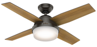 "Hunter 44"" Remote Control Modern Ceiling Fan Dempsey Noble Bronze 59444"