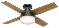 "Hunter 44"" Remote Control Modern Ceiling Fan Dempsey Low Profile Noble Bronze"