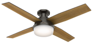 "Hunter 52"" Remote Control Ceiling Fan Dempsey Low Profile Noble Bronze 59447- OPEN BOX SPECIAL"